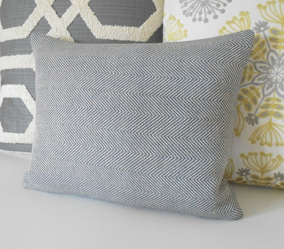 Gray and beige herringbone decorative throw pillow cover