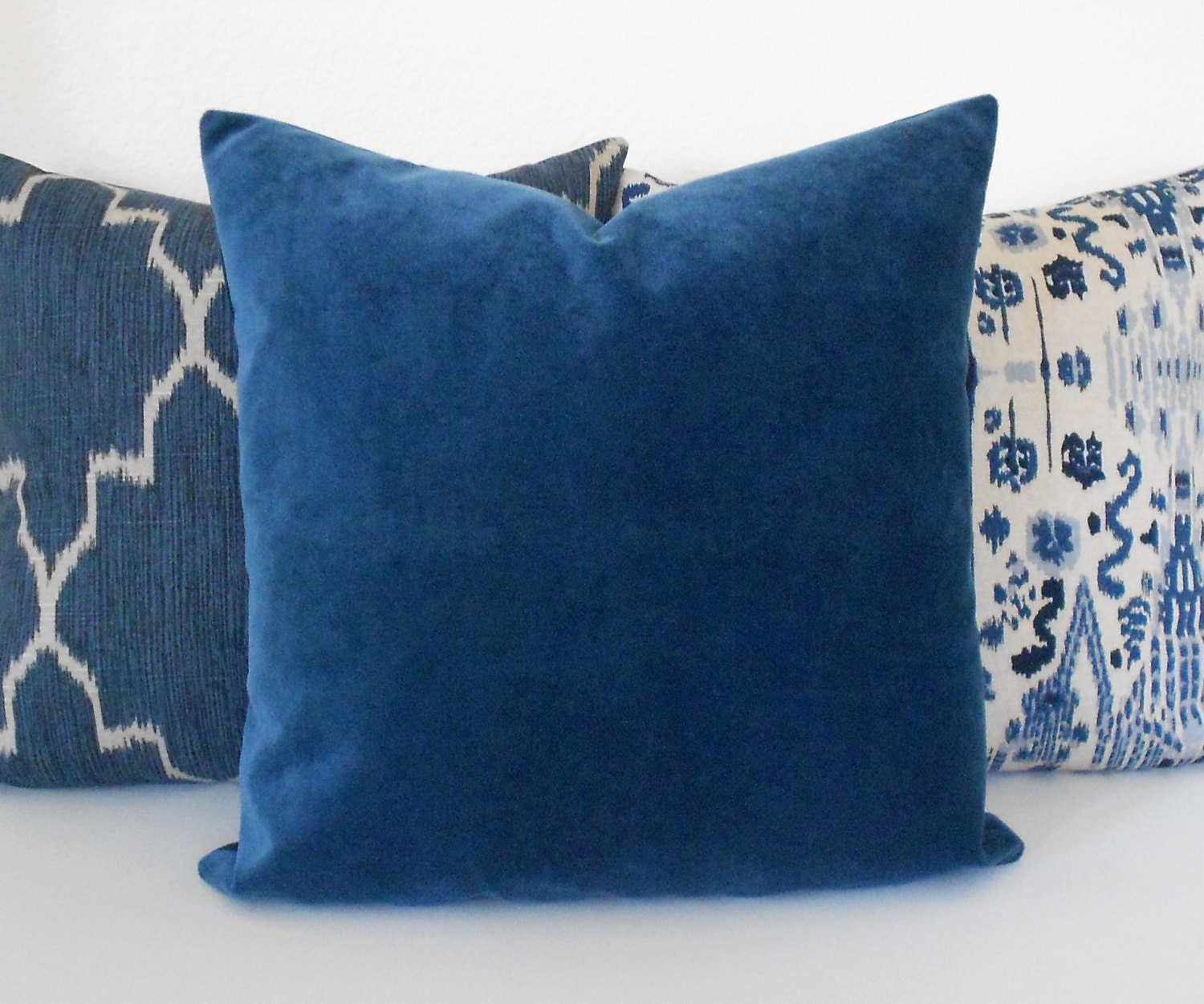 Indigo blue velvet decorative pillow cover accent pillow for Decor pillows
