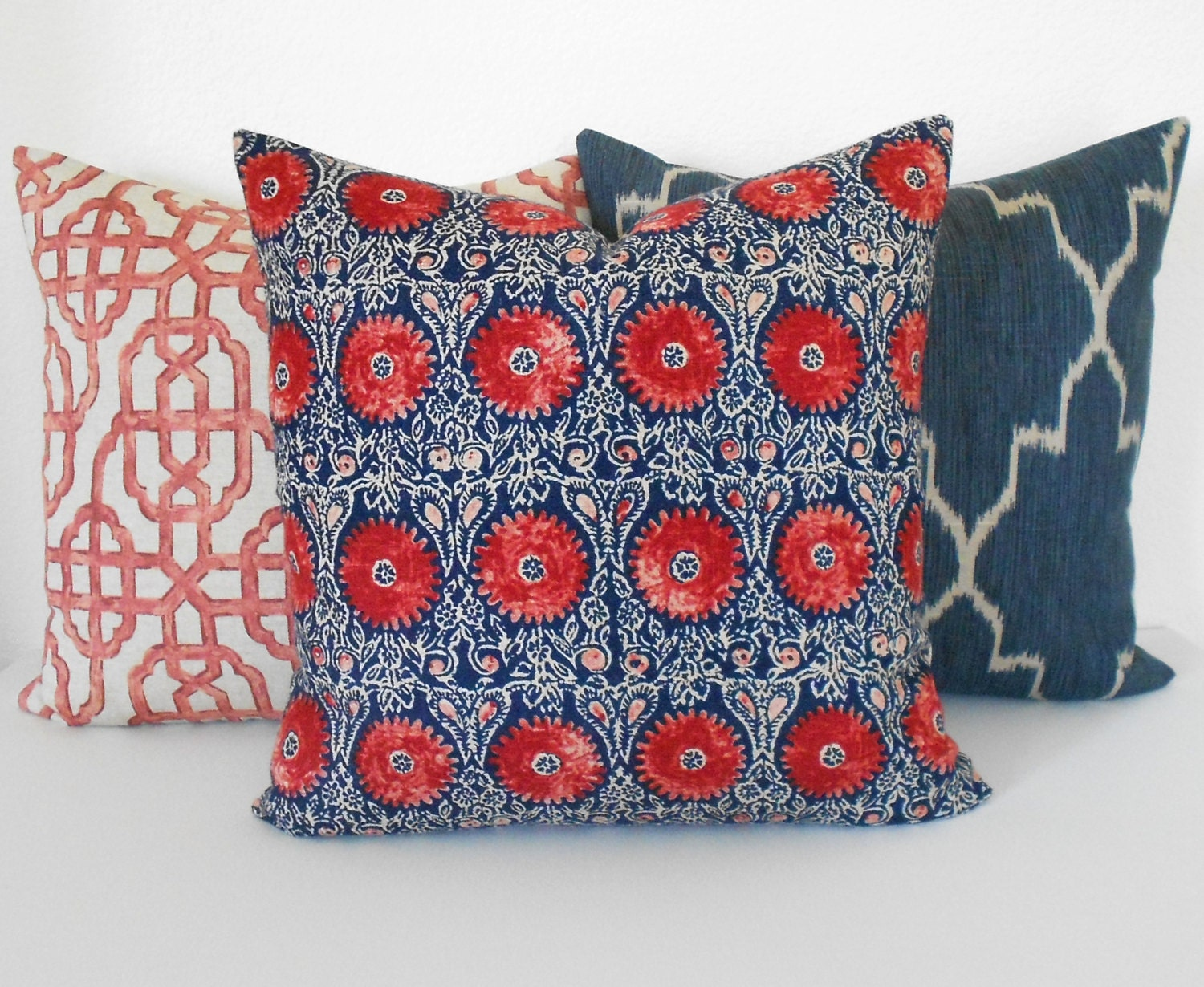 Navy And Red Medallion Floral Decorative Throw Pillow Cover