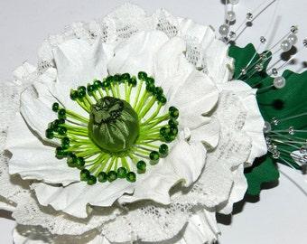 Leather flower brooch! Leather poppy, handmade leather flower - white!
