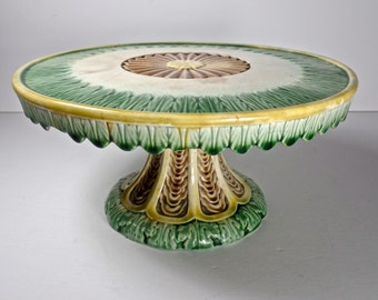 Antique Majolica Cake Stand, American Etruscan Majolica, Rare Majolica, Griffen Smith Hill Majolica
