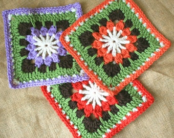Crochet Pattern - Forest Flower Afghan Block - PDF