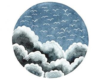 Original watercolor painting 8x10 Sky art Clouds Birds flight Blue white wall decor