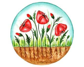 Original watercolor painting Poppy garden art illustration