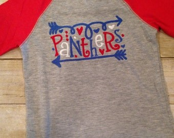 School Spirit Raglan tee Football Shirt Panthers