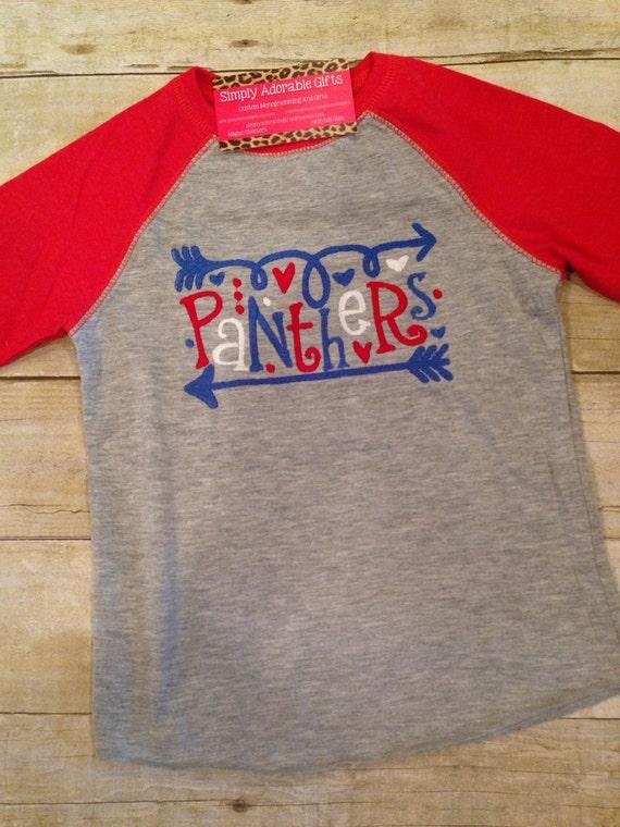 School spirit raglan tee football shirt panthers for Elementary school t shirt design ideas
