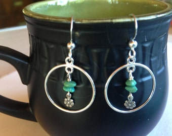 Small Sterling Silver Hoops with Turquoise Flowers Earrings