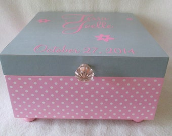 Girl Keepsake Box -  Personalized Memory Box - Large Keepsake Box - Pink and White Polka Dot - Grey -  Flowers -  Shower Gift