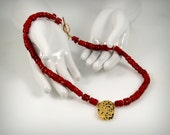 "Jewelry, Necklace In Coral and Gold, Red Coral, 23-Karat Hand Gilded Gold Leaf on Center Volcanic Stone, Toggle Clasp, 18"","