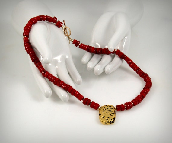 """Jewelry, Necklace In Coral and Gold, Red Coral, 23-Karat Hand Gilded Gold Leaf on Center Volcanic Stone, Toggle Clasp, 18"""","""