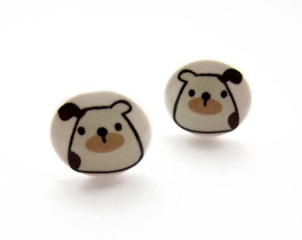 Cute Little Dog Resin Earrings, Hypoallergenic Surgical Stainless Steel, Nickel Free