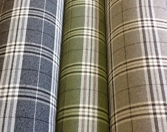 100% wool tartan fabric lewis in black, green or brown by the metre