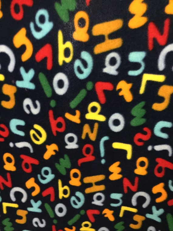 Alphabet And Numbers Print Fleece Fabric By The Yard By The
