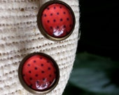 Red Black Polka Dot Glass 8mm Round Button Stud Bronze Tone Cabochon 14x10mm Setting Post Earring