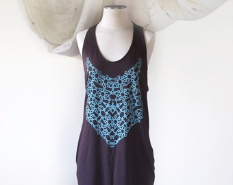 Turquoise Geometric Pattern Screenprint on Bark Brown Dress // Lounge Hard //