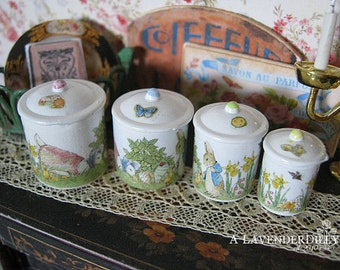 Peter Rabbit Easter Egg Hunt Kitchen Canisters for Dollhouse 1/12 Scale
