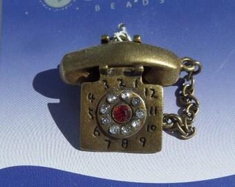 SALE! 35mm*25mm, Bronze Rhinestone Telephone pendant, Pendant, Charm, Focal Piece, Statement Piece, Jewelry making