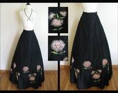 True Vintage Antique 1930s Maxi Skirt - Art Deco Black Full Length Skirt w/ Floral Applique