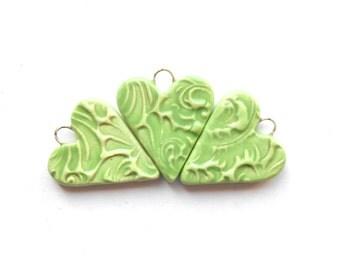 Pastel Green Heart Charm Pendant Handmade Ceramic x 1