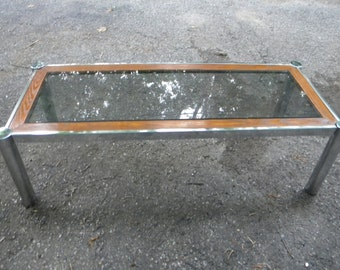 nice shape vintage eames era mid century oak wood and CHROME and smoke GLASS top COFFEE table  pick up only