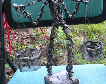 cool vintage mid century 1970s signed luis figural fishing man WIRE SCULPTURE FIGURE