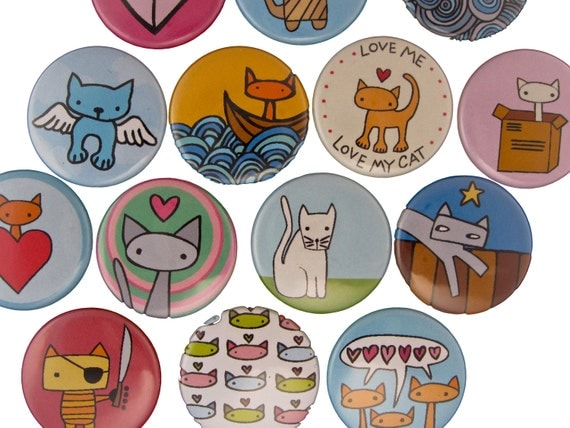 Cat Fancy - Pick your 4 Cat Magnets - Refrigerator Magnets with Cat Drawings