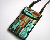 NEW iPhone 6 Plus Case with two pocket Sling Purse neck case Mini Crossbody Bag large smartphone holder Brown Turquoise fabrics