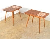Pair Mosaic and Walnut Mid Century Modern End Tables FREE SHIPPING Atomic Nightstands Side Tables