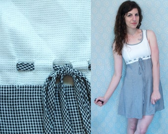 1990s Vintage Black and White Waffle Checkered Plaid Tartan Sleeveless Babydoll Dress with Woven Tie Drawstring Belt / Size Small S 3 4 5 6