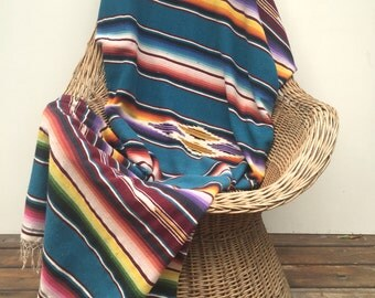 Mexican Serape Saltillo Blanket, Electric Blue Bohemian Tribal Decor