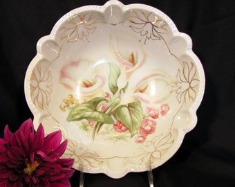 Hand Painted Bowl Made in Germany / Hand Painted Serving Bowl with Calla Lilies