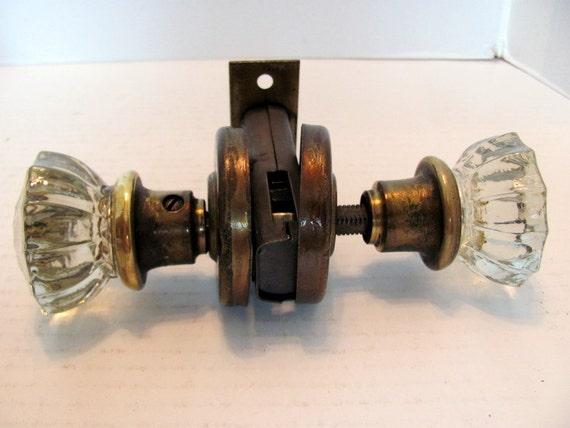 Glass and brass door knob set 1930 39 s antique glass door for 1930s brass door handles