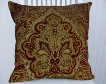 Red Gold Chenille Decorative Throw Pillow-18x18 or 20x20 or 22x22- NEW Pillow Cover- Accent Pillow
