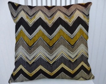 Black Grey Gold Chevron Pillow Cover, Decorative Pillow Cover,  18x18 or 20x20 or 22x22-Throw Pillow- Zig Zag Accent Pillow