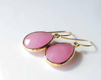 CIJ Sale, Baby Pink Earrings, Summer Jewelry, Bridesmaid Gift, Stone Dangle Earrings, Gift for Her