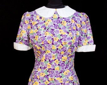 1940s Dress // Purple and Yellow Floral Cotton Peter Pan Collar Heart Pocket Day Dress