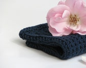 Hand knitted dish cloth - wash cloth - soft cotton navy blue