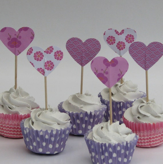 CLEARANCE 50% off - Cupcake topper - food pick - tooth pick heart shaped pink mix - 20 pcs