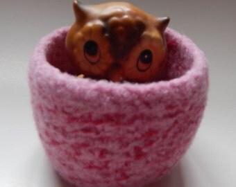 felted wool bowl organizer wool basket dark pink and rose pink wool jewelry holder