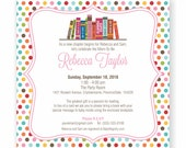Book Theme Baby Shower Invitation, Bring A Book Invite, Build a Library, Baby Boy, Girl or Gender Neutral, WE or YOU Print