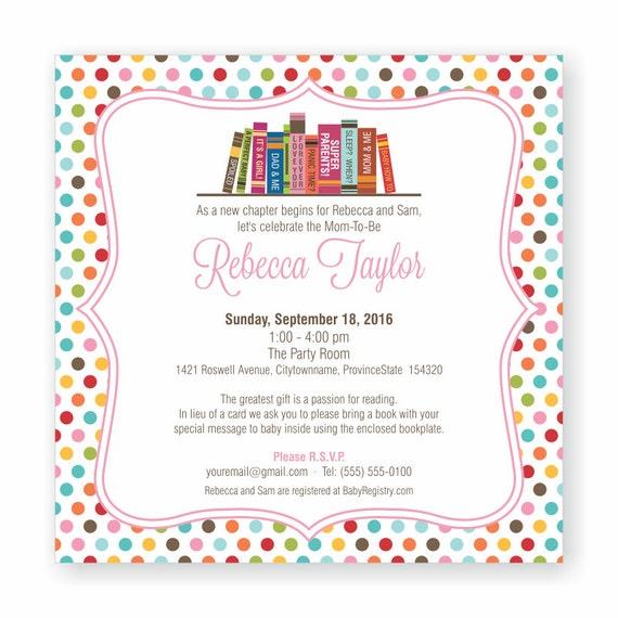 Book Theme Baby Shower Invitation Bring A Book Invite Build