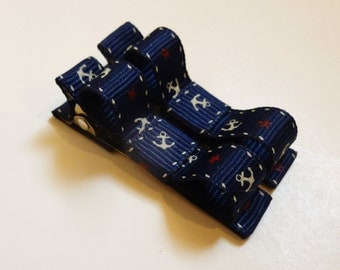 navy blue anchors hair clips--nautical sailor set of 2 tuxedo bows--preppy dark blue--small hair accessories for school