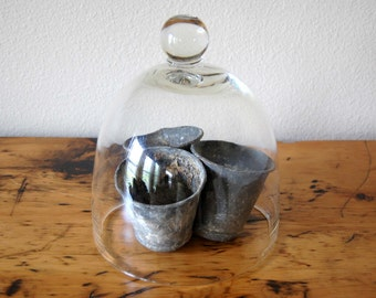 Vintage Zinc Pots Zinc Seed Pots, Industrial Metal Planter, Rustic Zinc Pots, Primitive Seed Pot, Photo Prop from The Eclectic interior