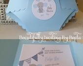 Baby Elephant Baby Shower Invitation- Blue and Gray Baby Shower Baby Boy Shower - Custom Order for Anna