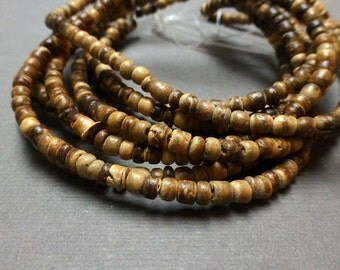 Coco Round Beads. Tiger. 2mm-3mm. Full Strand. 15 inch. One (1) Strand.