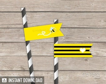 Bee Baby Shower Party - Straw Flags - Yellow Black - Bumble Bee - INSTANT DOWNLOAD - Printable PDF