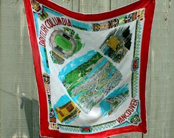 vintage Large Silk Souvenir Scarf British Columbia Travel 1960s Head scarf