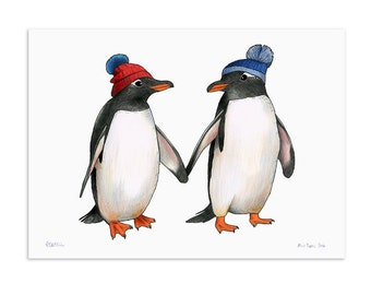 Penguins in Bobble Hats - A3 Print