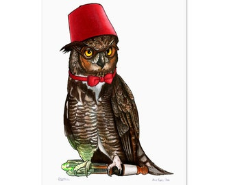 Dr Who Owl in Fez and Bow Tie - A3 Print