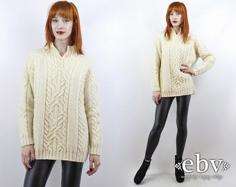 Fisherman Sweater Wool Sweater Chunky Knit Vintage 90s Ralph Lauren Cream Cable Knit Sweater Cream Sweater Oversized Sweater Oversized Knit